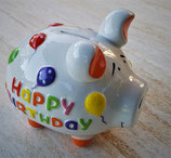 Sparkasse Schwein Happy Birthday