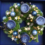 Blauer Adventskranz