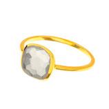 Geschliffener, grauer Mondstein Ring