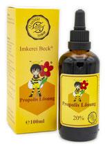 Propolis Lösung mit 20% natürlichem Propolis Extrakt, 20ml oder 100ml Propolislösung in der praktischen Tropfflasche (20ml) oder mit Pipette (100ml)