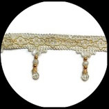 Galon écru et doré frange perlée 7.5 cm vendu au mètre GAL035