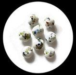 Perles de verre  lampwork paon palet  blanc 20 mm. Lot de 2 perles. PER247