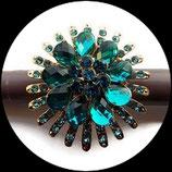 Grosse bague élastique fleur 3D strass couleur turquoise métal doré BAG120