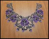 Faux col à coudre en dentelle brodé violet et noir fleurs FCO012