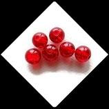 Perle en verre ronde givrée 8 mm rouge X 6 perles Réf : 383