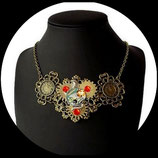 plastron steampunk collier COBRA mécanisme montre véritable bijou artisanal