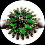 Grosse bague élastique fleur 3D strass verts métal doré BAG131