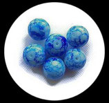 Perle en verre effet marbre 16 mm bleu  Réf : 040