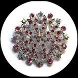 Broche ronde métal argenté à strass camaïeu de rose BRO037.