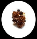Bague réglable dorée roses et strass marron beige BAG051