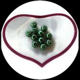 lot de 11 perles nacrées vert 8 mm création bijoux Réf : 1519
