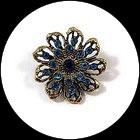Broche fleur vieil or à strass turquoise BRO102
