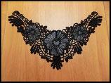Faux col à coudre en dentelle fleurs noires brodées FCO014