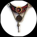 steampunk collierplastron ras de cou sur plaque émaillée - bijou artisanal