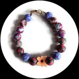 Bracelet enfant papillon saumon, perles fleuries fimo, bijou fait main