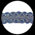 Galon turquoise et argent 4 cm, couture GAL088