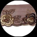 Dentelle tulle brodé fleurs marron et beige DEN001