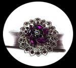 Grosse bague fantaisie élastique 3D strass violets et roses métal argenté BAG182