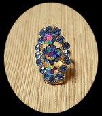 Bague ovale réglable dorée strass bleus  BAG029