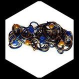 Barrette à cheveux en fil aluminium bleu et doré, perles