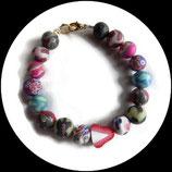 Bracelet enfant fraise et  perles fimo multicolores fait main