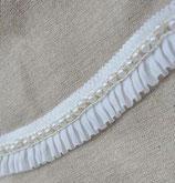 Galon blanc cassé ruban mousseline plissé, galon et perles 3,5 cm GAL040