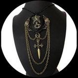 Gothique : collier gothique chic bronze et noir : squelette, crane, poignard fait main