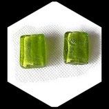 Perles de verre  palet à feuille d'argent 20 X 15 mm vert lot de 2 Réf : 1364