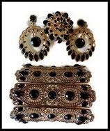 Parure bijoux fantaisie 3 pièces strass noirs, métal doré PAR041