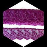 Dentelle brodée fleurs organza rose violet 4 cm DEN089