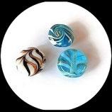 Perle palet rond verre mélange 16 et 18 mm blanc turquoise, lot de 3 Réf : 1069