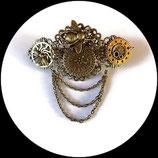 barrette à cheveux steampunk décor bronze : abeilles, montre engrenage - fait main