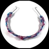 serre tête enfant en fil aluminium turquoise et rose ,  perles magiques roses  - Accessoire de coiffure fait main.