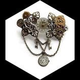 steampunk - barrette à cheveux dragon, pieuvre, montre steampunk fait main  - accessoire de coiffure steampunk.