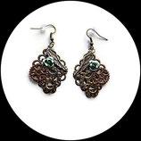 steampunk boucles ou pendants d'oreilles  aile d'ange, rose verte bijou fait main