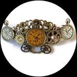 Barrette à cheveux steampunk montres, engrenages bronze fait main