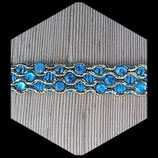 Galon turquoise et or, strass turquoise 2 cm GAL022