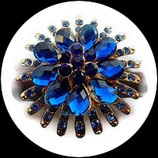 Grosse bague élastique fleur 3D strass bleu royal métal doré BAG129