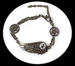 bracelet steampunk homme aile, engrenage fait main unique.