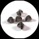 Perles formes en verre  gris x 8 -lot de 8 perles de verre grises pour création de bijoux - Réf 1406