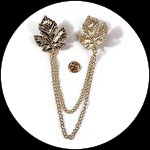 Clip chaîne feuilles métal doré pour veste, col CLI010