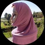 Cagoule ou hijab adulte vieux rose motifs strass  pour costume CAG013
