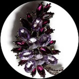 Broche feuille strass prune et mauves BRO078