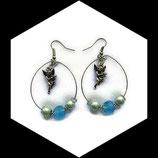 créoles ange boucles oreilles percées perles turquoise et bleu fait main français