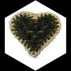 Applique coeur fleurs organza kaki, sequins kaki, galon doré  APP074