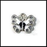 Pendentif breloque papillon métal argenté émail strass