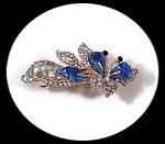 barrette pince à cheveux papillon bleu strass et nacre BAR005