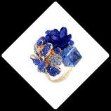 Bague anneau doré réglable fleurs résine et strass bleu BAG001