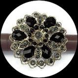 Grosse bague élastique 3D strass noirs et gris métal argenté BAG116