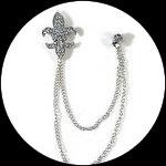 Clip chaîne fleur de lys strass naturels métal argenté pour veste, col CLI013